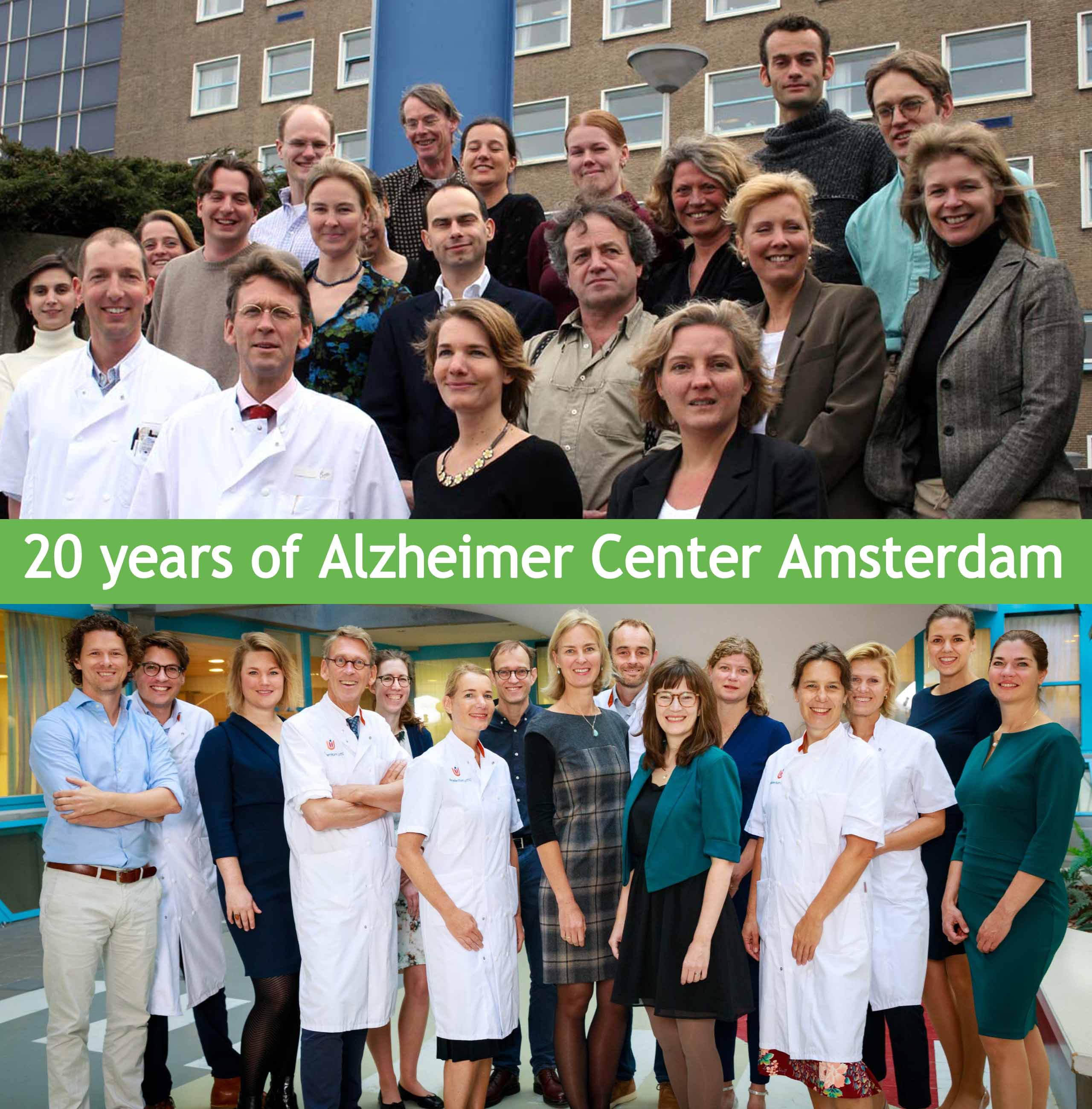 An old photo of 2005 and a photo of 2019 of the researchers at the Alzheimer Center Amsterdam